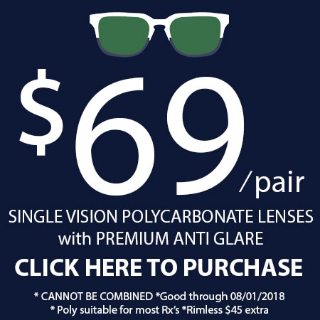 Single Vision Polycarbonate Lens Sale!