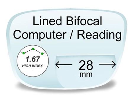 fbd4c2040e6 Lined Bifocal High Index 1.67 Computer Prescription Eyeglass Lenses