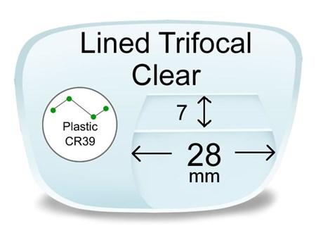 Lined Trifocal 7x28 Plastic Prescription Eyeglass Lenses