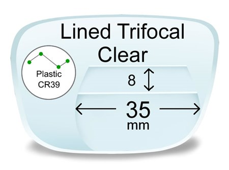 fe76452d48 Lined Trifocal 8x35 Plastic Prescription Eyeglass Lenses